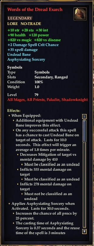 Words of the Dread Exarch (Level 80)