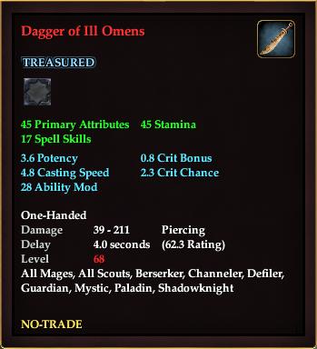Dagger of Ill Omens (Level 68)