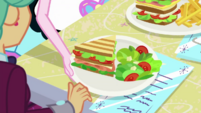 Pinkie giving club sandwich to Garden Grove EGDS39