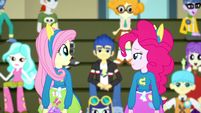 Fluttershy and Pinkie look at each other SS4