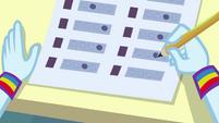 Rainbow Dash filling in her exam sheet EGDS6