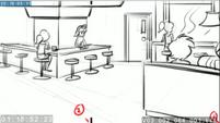 EG3 animatic - Panning shot of the Sweet Shoppe 1