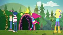 Pinkie running toward the neon garden EGSBP