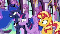 Princess Twilight smacks Sunset with her wing EGFF
