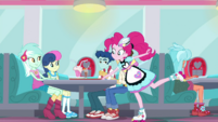 Pinkie Pie places tray at Lyra and Bon Bon's table SS15