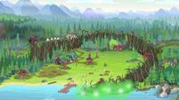 Brambles start to enclose Camp Everfree EG4