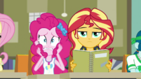 Pinkie Pie freaking out; Sunset Shimmer stoic EGDS6