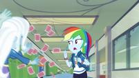 Rainbow Dash dodging Trixie's flying cards EGDS42