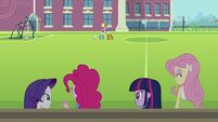Applejack and Rainbow Dash hug background