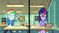 Split screen of Twilight and Rainbow Dash EGDS22