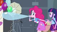 Pinkie Pie blowing up a balloon EG