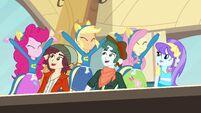 Pinkie Pie, Applejack, and Fluttershy cheering