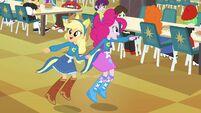 Applejack and Pinkie Pie pointing