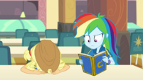 Applejack puts her head on the lunch table EGDS4