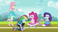 Rainbow Dash on the school track field EGDS6