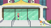 Sunset Shimmer at the front of the school EGFF