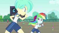 Rainbow running next to Tennis Match CYOE17b