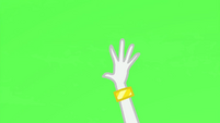 Rarity's hand in front of green screen EG3b
