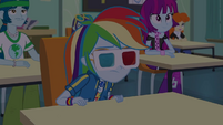 Rainbow wearing 3D glasses over sunglasses EGDS22