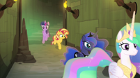 Twilight and Sunset follow princesses down passage EGFF