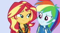 Sunset and Rainbow Dash smile at each other EGDS2