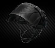 MSA Gallet TC 800 High Cut combat helmet with ballistic face shield (open)
