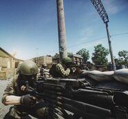 PMC operating KORD machine gun