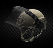 Ops-Core Fast MT SUPER HIGH CUT Helmet Tan with ballistic face shield (open)