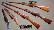 Mosin bolt-action rifles - All variants - finished 3D render