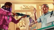 GTA V Artwork - Ballas asaltando un mercado