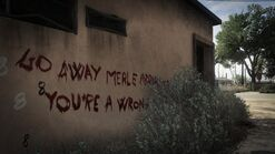 Mensaje escrito con sangre aparentemente por Merle Abrahams
