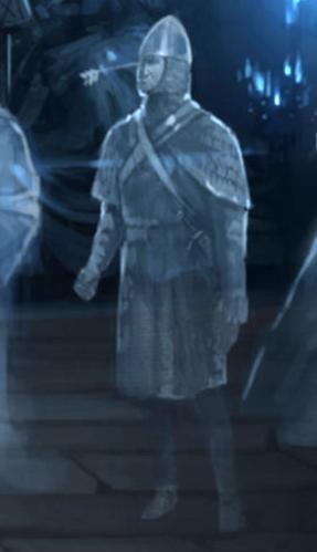 Caballero con una flecha clavada en su frente