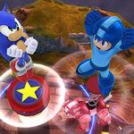 Sonic y Mega Man realizando sus respectivos Jump Springs - (SSB. for Wii U).jpg