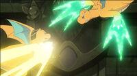 EP1154 Dragonite de Iris usando puño trueno y Dragonite de Ash usando garra dragón
