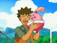 EP531 Brock abrazando a Happiny