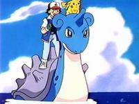 EP115 Ash y Pikachu montados en Lapras