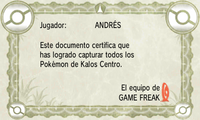 Certificado Pokédex Kalos Centro XY