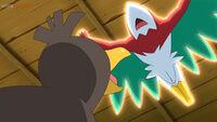 EP1123 Hawlucha usando Plancha corporal para derrotar a Farfetch'd de Galar
