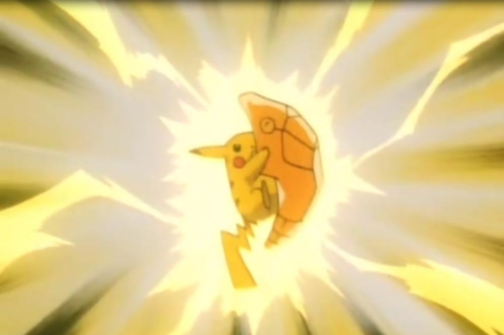 EP146 Pikachu usando impactrueno sobre Metapod.png
