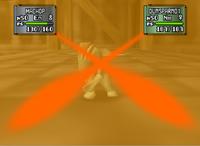 Machop Usando Tajo Cruzado en Pokémon Stadium