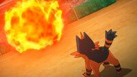 EP1084 Torracat recibiendo el Anillo ígneo del Incineroar del profesor Kukui