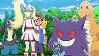 EP1114 Corelia y Lucario junto a Ash, Pikachu, Riolu, Gengar y Dragonite