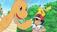 EP1110 Ash enseña el huevo de Riolu a Dragonite