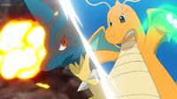 EP1114 Mega-Lucario usando Puño incremento y Dragonite usando Garra dragón