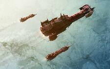 Flota barcaza batalla escoltas orbita