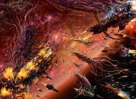 Tiranidos bionaves vs flota imperial.jpg