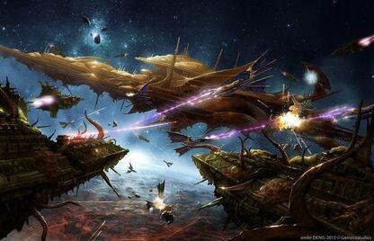 Eldar mundo astronave vs caos flota