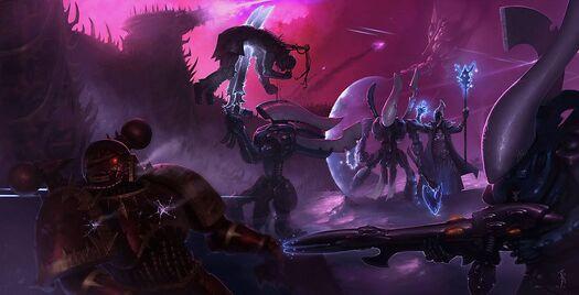 Eldars vs caos marines mundo demoniaco