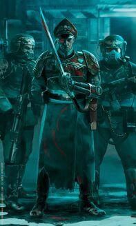 Comisarios y Veteranos Cadianos desplegados contra ¡Waaagh! Rojo
