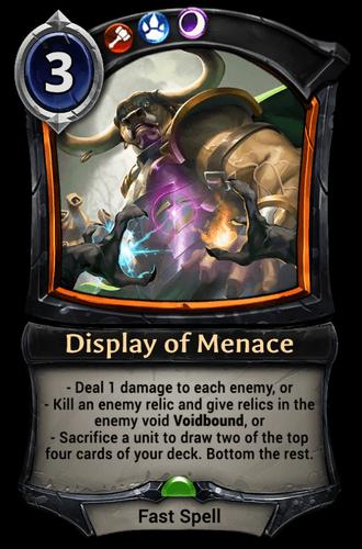 Display of Menace card